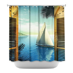 DiaNoche Designs - Shower Curtain Artistic - Set Sail - DiaNoche Designs works with artists from around the world to bring unique, artistic products to decorate all aspects of your home.  Our designer Shower Curtains will be the talk of every guest to visit your bathroom!  Our Shower Curtains have Sewn reinforced holes for curtain rings, Shower Curtain Rings Not Included.  Dye Sublimation printing adheres the ink to the material for long life and durability. Machine Wash upon arrival for maximum softness. Made in USA.  Shower Curtain Rings Not Included.