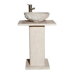 The Allstone Group - VSP-2 White Sands Honed Lav Pedestal - Natural stone strikes a balance between beauty and function. Each design is hand-hewn from 100% natural stone.  Limited in space but still want to wow your guests?  Perfect for half-baths and powder rooms. Pedestal comprised of base, column and vanity top. Vessel sold separately.