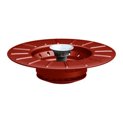 Tovolo Collapsible Sink Stopper & Strainer Chili Pepper - The Tovolo Collapsible Stopper & Strainer is just what the plumber recommends! A turn of the knob drops the stopper down and prevents liquid from draining. Another turn and the stopper stays up  allowing the holes to drain but food particles to collect.   Product Features      Holes large enough to drain but small enough to collect food   Collapsible for easy storage   Turn the knob and drop the stopper preventing liquid from draining
