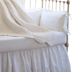 Taylor Linens - Elizabeth Crib Bumpers Set - Rest easy, baby. Sweet dreams are practically assured with this antique-inspired crib bumpers set. The set of four pillows features eyelet and pintuck detailing, a pretty ruffled edge with ties and baby-safe filler.