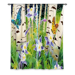 """DiaNoche Designs - Window Curtains Unlined by Harriet Peck Taylor - Columbine Butterflies - DiaNoche Designs works with artists from around the world to print their stunning works to many unique home decor items.  Purchasing window curtains just got easier and better! Create a designer look to any of your living spaces with our decorative and unique """"Unlined Window Curtains."""" Perfect for the living room, dining room or bedroom, these artistic curtains are an easy and inexpensive way to add color and style when decorating your home.  The art is printed to a polyester fabric that softly filters outside light and creates a privacy barrier.  Watch the art brighten in the sunlight!  Each package includes two easy-to-hang, 3 inch diameter pole-pocket curtain panels.  The width listed is the total measurement of the two panels.  Curtain rod sold separately. Easy care, machine wash cold, tumble dry low, iron low if needed.  Printed in the USA."""