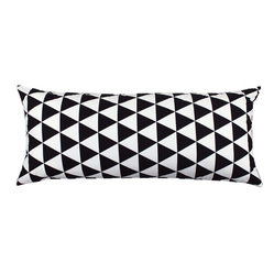 """Becca"" Black and White Body Pillow Cover"