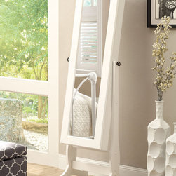 """Coaster - Jewelry Cheval, White - Dual purposed jewelry armoire with areas to hang earrings, necklaces, bracelets and rings with shelving and a small drawer to hide valuables.; Finish/Color: White; Dimensions: 18.50""""L x 16.75""""W x 60""""H"""