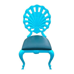Pre-owned Vintage Venetian Shell Back Grotto Chair - Vintage Venetian grotto chair in cast aluminum. Suitable for outdoor and indoor. Seat is original and ready for your own fabric. Chair newly painted aqua blue. More available if you need a set of 2, 4, 6 or more. Please contact support@chairish.com if you're interested in purchasing more than 1 chair.