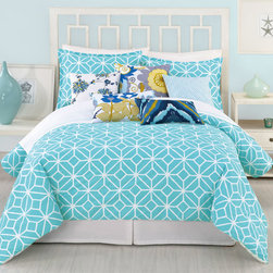 """Trina Turk - Trina Turk Trellis Turquoise Comforter 3 Piece Set - Chic and cheerful, the Trellis comforter set delivers the contemporary style of Trina Turk to a the bedroom. Slender hairlines cross and coverge to create the geometric look of it signature """"floret"""" pattern in vibrant turquoise blue and crisp white. Available in queen and king; 3-piece set includes comforter and 2 pillow shams; 100% cotton sateen; Comforter fill: 100% cotton; Pillow inserts not included; Machine wash; Add optional Palm Springs Block sheet set"""