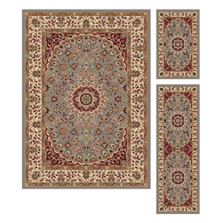 Tayse Rugs - Elegance Blue and Green Area Rug Sets Three Piece Set - - The detailed oriental medallion design of this area rug make a statement of elegance to any room. Soft polypropylene fibers make it soft, warm, and easy to clean. Rich hues of gray-blue, gold, red and ivory. Vacuum and spot clean.  - Square Footage: 47  - Pattern: Oriental  - Pile Height: 0.39-Inch  -3 piece rug collection: 5? x 7?, 20 x 60, and 20 x 32 Tayse Rugs - 5396  Blue  3 Pc. Set