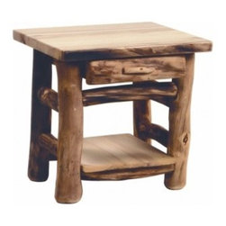 Mountain Woods Furniture - Log End Table, 1-Drawer - This  simple,  one  drawer  log  end  table  will  be  the  perfect  fit  in  any  cabin  or  lodge.  Each  table  is  hand  crafted  to  perfection  and  is  a  piece  of  rustic  furniture  that  will  be  favorite  for  years.  Enjoy  the  look  of  the  outdoors  with  our  solid  wood  constructed  end  table.  Dovetail  construction  on  drawers.                  Dovetail  drawer  construction              Dimensions:  24x21x24              Natural  Aspen  Log  Construction              Made  in  USA              Allow  4-6  weeks  for  shipping                        Options  and  Upgrades                                                            Flat  Drawer  Fronts                                                  Half-Log  Rounded  Drawer  Fronts                                            Dovetail  Drawer  Detail                                                  Natural  Finish                                  Bronze  Aspen  Stain                                                         Manufacturer  is  a  founding  member  of  the  Sustainable  Furnishings  Council.