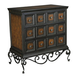 Hammary - Hammary T73704-00 Hidden Treasures 3-Drawer Chest in Black and Brown - The Hidden Treasures collection is a fabulous assortment of one-of-a-kind accent pieces inspired by the greatest furniture designs from around the world. Each selection is a true treasure - rich in old world icons and traditions. All the pieces in this collection are crafted with attention to every detail. From brass nailhead trim and exquisite hand-painting to elegant shaping and decorative trim, every item is a unique work of art. A wide variety of materials is used to create the perfect look and finest quality - from exotic woods, leather and stone to raffia and glass. The huge selection of finishes, hardware, exceptional carvings and other final touches offer unsurpassed versatility for any room in the home. Hidden Treasures includes cocktail tables, occasional and accent pieces, trunks, chests, consoles, wine racks, desks, entertainment units and interesting storage pieces. Place one in a comfortable reading nook... In the family room for flair and variety... In the foyer for a welcome look... In a bedroom for cozy style... Or in the office for function and versatility. The pieces in this collection mix beautifully with any decorating style and will easily become the focal point in any setting.