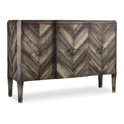 Hooker Furniture - Melange Chevron Console - White glove, in-home delivery included!  Birch, pine and oak veneers combine to create multiple tones of soft gray in a sophisticated menswear chevron pattern.  Three doors with one adjustable wood shelf behind each door.