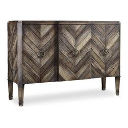 Hooker Furniture - Melange Chevron Console - Birch, pine and oak veneers combine to create multiple tones of soft gray in a sophisticated menswear chevron pattern.  Three doors with one adjustable wood shelf behind each door.