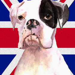 Caroline's Treasures - Boxer Cooper With English Union Jack British Flag Flag Canvas House - Full size house flag is made from a 100% polyester heavy weight canvas material. Not your typical house flag that you might find from a mass merchant. These flags are only sold online and in specialty boutiques. This flag is much heavier than most flags currently being sold by other manufacturers. This flag is fade resistant and weather proof. The flag measures approximately 28 inches x 40 inches (wooden flag pole, hanging bracket or yard stand sold seperaletly)