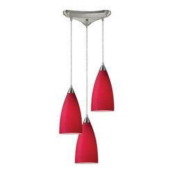 ELK Lighting - Three Light Satin Nickel Cardinal Red Glass Multi Light Pendant - Three Light Satin Nickel Cardinal Red Glass Multi Light Pendant