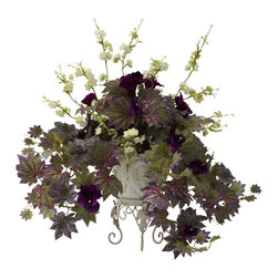 Nearly Natural - Morning Glory and Cherry Blossoms Silk Plant - Includes stunning ornate metal planter. Perfect for home or office. Made from silk. Green and purple color. Planter: 6 in. W x 6 in. D x 9 in. H. Overall: 22 in. L x 22 in. W x 22 in. HHey, here's an idea - let's take two of nature's most decorative specimens (in this case, the Cherry Blossom and the Morning Glory), and combine their beauty. Then let's display this incredible combination in a lovely metal planter. How does that sound to you? Well, as you can see by this picture, its truly a winning combination. And the best part is, itll stay beautiful with nary a drop of water. Makes a great gift as well.