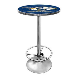 Trademark Global - Round Pub Table w NHL Nashville Predators Log - The officially licensed Nashville Predators team logo and colors stand out against the chrome colored base of this sports themed pub table, a perfect accent to any sports bar or game room. The table has a wood top printed with the full color team logo, protected by a clear acrylic shield. Other team logos are available separately. Great for gifts and recreation decor. 0.125 in. Scratch resistant UV protective acrylic top. Full color printed logo is protected by the acrylic top. Table top is trimmed with chrome plated banding. 1 in. Thick solid wood table top. Chrome base with foot rest and adjustable levelers. 28 in. L x 28 in. W x 42 in. H (72 lbs.)This National Hockey League officially licensed pub table is the perfect for your game room on Hockey Night.