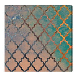 The Oliver Gal Artist Co. - 'Amour Arabesque' Canvas Art - Fine art and architectural detail come together in this shimmery print, bringing a touch of exotic elegance to any space. Glance at this exquisite piece and imagine yourself peering out the window of a mosque near dusk.