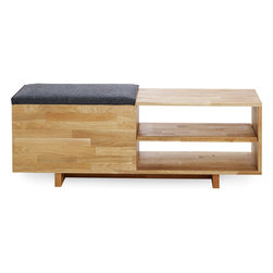 MASH Studios - LAX Storage Bench - MASH Studios - Forged in MASHstudios Founder Bernard Brucha's modern, clean aesthetic, the Storage Bench combines Solid English walnut construction with a charcoal grey sliding felt seat. The Storage Bench is a perfect welcome piece for any home or office design. Finished with natural oil, the Bench continues MASH's commitment to sustainability and producing furniture built to last a lifetime.