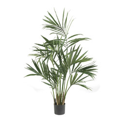 Nearly Natural - Nearly Natural 5' Kentia Palm Silk Tree - We know the year is heating up when we see plants like the Kenita Palm. And now you can experience that summery feeling all year with this beautiful 5' recreation of a lush, wispy Kenita Palm. With 9 stems and 156 leaves, It's perfect for dancing in the summer breezes (even if those breezes are made by your indoor fan!) Makes an ideal gift, too.