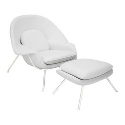 "LexMod - W Leather Lounge Chair in White - W Leather Lounge Chair in White - Concerted efforts run deep in the expansively designed W Chair. First intended as a chair you can curl up in,  it has since become a symbol for organic living. The natural motif portrays growth amidst silent resolve. Perhaps this is what makes the Womb both a reception and a lounge chair. Each of us would like to find our place as it were. Whether this means feeling welcomed in by the reception halls of businesses, or feeling welcome to relax into our own homes. While mid-century modernism showed us how to embark into the age of discovery, this finely upholstered classic taught us how to contemplate upon it. The shell of the W chair is made of molded fiberglass with foam padding. The legs are stainless steel and come with foot caps to prevent scratching on floors. Set Includes: One - Matching Ottoman One - W Lounge Chair Upholstered in Fine Leather, Stainless Steel Frame, Reinforced Fiberglass Shell Chair Dimensions: 38""L x 38.5""W x 35""H Ottoman Dimensions: 22""L x 25""W x 18""H Seat Height: 16.5 - 17""H Armrest Height: 22""H Overall Product Dimensions: 60""L x 38.5""W x 35""H - Mid Century Modern Furniture."