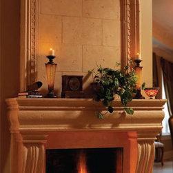 """Monaco stone fireplace overmantel - """"omega cast stone fireplace mantle"""""""