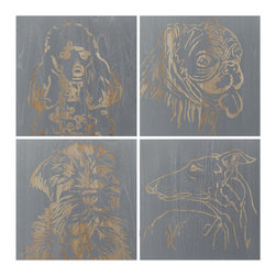 Selamat Designs - Wall Art - Panels Hand Carved Raised Wood Panels, Dog Panels (Set of 4)- Silver - Yes, we have gone for the dogs. Modeled after Suki, Spanky, Bang and a graceful Greyhound that we wish we knew, these are hand carved into raised wood panels. Hardwood hand routed with Silver finish, sold as set of 4.