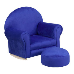 Flash Furniture - Flash Furniture Kids Blue Microfiber Rocker Chair and Footrest - Kids will now get to enjoy furniture designed specifically for their size! This charming set is sure to become your child's favorite chair. The rocker base will allow kids to gently rock while watching TV or reading their favorite book. This portable chair is great for seating in any room. The microfiber upholstery ensures easy cleaning and will hold up against your active child.