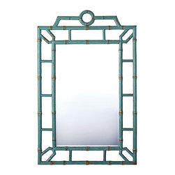 Serena & Lily - Bungalow Mirror - Serena & Lily does not disappoint with this Bungalow mirror. Though it looks like bamboo, it is actually crafted of fine Chinese elm branches. The gorgeous turquoise finish makes it impossible to ignore.