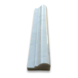 """Stone Center Online - Carrara White 2 x 12 Chair Rail Bullnose Trim Molding Polished - Premium Grade Carrara Marble Italian White Bianco Carrera Polished 2x12"""" Chair Rail Bullnose Wall & Floor Tiles are perfect for any interior/exterior projects such as kitchen backsplash, bathroom flooring, shower surround, window sill, dining room, hall, etc. Our large selection of coordinating products is available and includes hexagon, herringbone, basketweave mosaics, field, subway tiles, borders, baseboards, and more."""