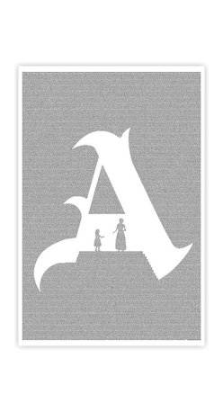 Postertext - The Scarlet Letter Art Print - Made Entirely With Text (B & W) - This The Scarlet Letter poster is created using the entire text of the book.