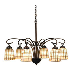 """Meyda Tiffany - Meyda 27.5""""W Terra Bone 6-Light Chandelier - Elongated hand crafted shades of Bone Beige art glass in a Geometric grid pattern are suspended from the gracefully curving arms of this six light chandelier finished in Mahogany Bronze."""