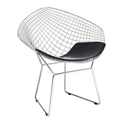 Graph Lounge Chair - Built for home or office, this contemporary chair matches a molded wire seat to a comfortable leatherette cushion. This beautiful chair fits easily in any setting.
