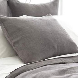 Pine Cone Hill - stonewash linen sham (shale) - Chambray, gray and ochre tones combine with soft textures and subtle stripes to hallmark seabold retreat collection.  Choose from classic decorative pillows, cotton bed sheets, duvet covers and more to set the foundation for a calm, relaxing bedroom.