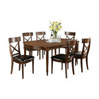 "Asia Direct - 7-Piece Rubbed Walnut Finish Country Style Dinette Set with Cross Back Chairs - 7-piece rubbed walnut finish country style dinette set with carved table legs and cross back chairs. Dining set contains: (1) Dining Table measures: 44"" x 60""-78"" x 30""H, (6) Side Chairs measures: 21""x 24.5"" x 41""H. Some assembly may be required. This doesn't included the server in picture, but is available at additional cost."