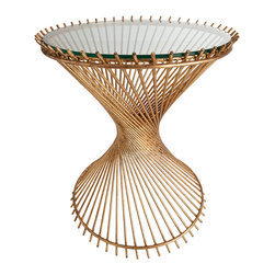 Pascal Iron/Glass Side Table - Gold-leaf rods angle around a double ring, each reaching for the opposite side of the implied cylindrical form that contains them, in the artful construction of the round Pascal Side Table.  This glass-topped end table has an hourglass shape familiar from nineteenth-century empire bamboo and wicker furnishings, updated in luxurious metal.  Use it to transition between traditional vintage pieces and more contemporary ones, or simply enjoy its durably-rendered classic form.