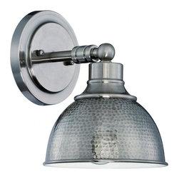 Joshua Marshal - One Light Antique Nickel Hammered Metal Shade Wall Light - Finish: Antique Nickel