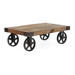 ZUO - Barbary Coast Cart Table - An early 1900s industrial original once used to transport supplies across the factory floor, the Barbary Coast Cart Table adds a little Industrial Revolution to your living room. The cart is made from solid fir wood and the wheels are antiqued metal. Beautiful when holding books or houseplants or as a mechanism for toting all your kids' toys back to their natural habitat.