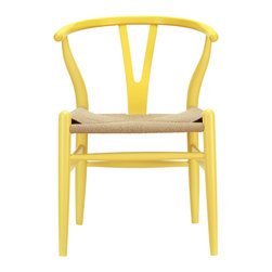 LexMod - Amish Wood Armchair in Yellow - The sands of times flow effortlessly through the Hourglass wooden bar stool. The craftsmanship is evident throughout a piece that appears simultaneously both petite and boldly courageous. While Hourglass was named after the transitional feel of the solid beechwood back and base, the result is a design that appears most enduring. With the footrest appearing on a lower level than the supporting side slats, throughout Hourglass develops this interplay between permanence and sequential movements forward. The seat is made of paper rope, a new twine that is eco-friendly, soft, anti-static and durable.