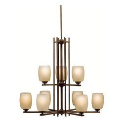 Kichler Lighting - KICHLER 1897OZ Eileen Soft Contemporary / Casual Lifestyle Chandelier - Named after famed furniture designer Eileen Gray, The Eileen Collection features a clean, straight linear construction with simple glass for a style that is as unique and contemporary as Eileen Gray's. The warm, antique elegance of our Olde Bronze finish complements the umber etched glass perfectly to give the Eileen Collection added ambiance that is ideal for today's ever-evolving aesthetic.