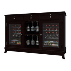 Vinotemp - Vinotemp - Cava 36-Bottle Wine Credenza, Espresso - Coupling style with premium wine storage capabilities, the Cava 36-Bottle Wine Credenza is the perfect addition to any space. With the ability to hold up to 36 bottles in two independently controlled refrigerated units, up to 18 wine glasses in the central hanging stemware racks, and all of your favorite wine accessories in its 3 storage drawers, the Cava Credenza is the perfect solution for serving and storing your wine collection.