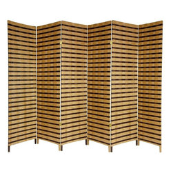 Oriental Furniture - 6 ft. Tall Two Tone Natural Fiber Room Divider - 6 Panel - A simple, effective and beautiful room divider. Well crafted hinged panels, built from lightweight kiln dried Spruce frames. The frames are shaded with cross woven natural plant fiber cord. Entirely opaque, no light passes through the panel, providing complete privacy. A perfect privacy screen, great for temporarily blocking light or the view from windows and doorways. An attractive decorative screen with an attractive two tone finish, great for creating a cozy nook for a table and chairs. Divide two spaces or redirect foot traffic. A light, portable, practical room divider at an unbeatable price.
