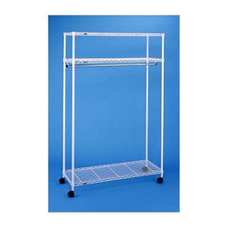 Metro Shelving - Three Shelf Garment Rack in White Epoxy Finish - Create a closet on wheels with this garment rack. Three-shelf unit features a rugged epoxy finish and open grid system. There is still more than ample room to hang clothing in all lengths, plus storage for shoes, extra luggage and more.