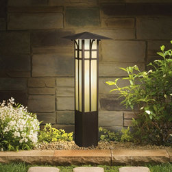 LANDSCAPE - LANDSCAPE 15458OZ Mission Bollard Path Light - The broad roof indicative of mission styling is blended into a garden bollard with honey beige glass.