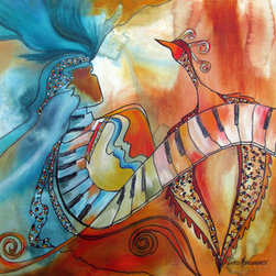 "Fancy Dance (Original) by Chris Morningforest - Fancy Dance is one of the whimsical, fun paintings in my Music series.  The woman and the bird are about to join in a celebration dance with a keyboard.  Color and movement and form create the 16""x16"" colorful piece.  It is done on high quality print making paper which measures 22""x30"".  The white edges allow for flexibility in how it is matted and framed.  Created using mixed media which may include: watercolor, acrylic, pen, pencil, collage, and oil paint."