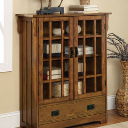 Coaster - 950186 Curio Cabinet - Featuring a distressed warm brown oak finish, this accent cabinet with two doors and 1 drawer is perfect for a living room or entry way.