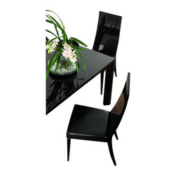 Rossetto - Rossetto Nightfly Wood Dining Side Chairs in Ebony (Set of 2) - Rossetto - Dining Chairs - R413105000003 - Wooden backs and seat in crocodile leather effect material. A great matching piece for the Nightfly rectangular dining table (sold separately).