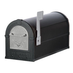 None - Silver/ Black Eagle Heavy Duty Rural Mailbox - Add style and functionality to your curbside with this heavy duty aluminum mailbox. This mailbox is made of heavy duty aluminum with a high-quality silver and black finish,features an eagle design,and is approved by the United States Postal Service.