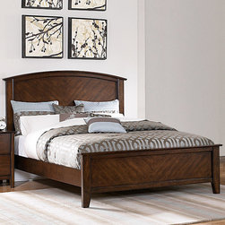 None - Nurmes Warm Cherry Queen-size Transitional Low Profile Bed - Add some sleek elegance to your bedroom with this chic understated queen-size bedstead. This rubber wood bedstead with birch veneer has slight curves on the headboard and clean lines on the footboard. It has a beautiful warm cherry finish.