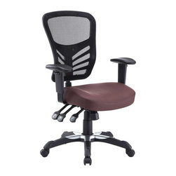 Modway - Articulate Vinyl Office Chair in Brown - Mark a turning point in your office tasks with this upright and ergonomic mesh office chair. Let the breathable mesh back and plush vinyl seat serve as a simple extension to your everyday home and business ventures. The back height and seat depth are both easily adjustable to fit your height and size, while two sturdy armrests height adjust to assist your vertical seat posturing. Articulate also includes tilt tension and lock functions to recline and incline comfortably as needed. Fitted with five hooded dual-caster wheels, give yourself the ability to easily glide over carpeted floors while naturally performing tasks without exertion.