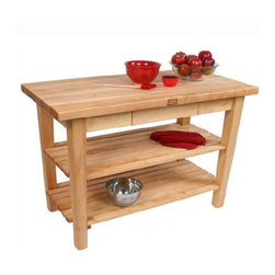 """John Boos - BoosBlock Prep Table - Features: -BoosBlock collection. -Solid hard maple construction. -1 3/4"""" End grain work surface. -Stands 36"""" H. -2 Shelves. Customize Your Work Surface -36"""" W x 24"""" D. -48"""" W x 24"""" D. -60"""" W x 24"""" D. -48"""" W x 30"""" D. -60"""" W x 30"""" D. -48"""" W x 36"""" D. -60"""" W x 36"""" D. John Boos: A Commitment to Eco-Friendly Practices: John Boos & Co is firmly committed to managing environmental matters as an integral part of their business practice. It is their policy to ensure the environmental integrity and consideration of their processes and facilities at all times. They maintain a high standard of recognition in treating our environment with respect while manufacturing their products. Some of the steps they take to keep this promise include: -Using only formaldehyde-free and low-emission formaldehyde gluing processes in manufacturing their butcher blocks. -Selecting individual trees for harvest, encouraging forests to renew and regenerate themselves naturally and prolifically. -Maintaining active recycling programs, with 95% of all raw materials, scrap, and sawdust being recycled as fuel to heat their kilns. With John Boos, the truth is black and white: they're green!"""