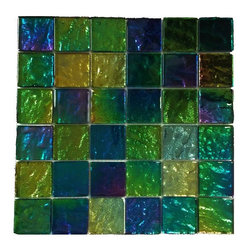 "GlassTileStore - Iridescent Mardi Gras Squares Glass Tile - Iridescent Mardi Gras Squares Glass Tiles          This eye-catching iridescent glass tile will be a great back splash to add color to your kitchen, or any decorated room. The mesh backing not only simplifies installation, it also allows the tiles to be separated which adds to their design flexibility.         Chip Size: 2x2   Color: Multi-color - Blues, Greens, Purple    Material: Foil Glass   Finish: Polished   Sold by the Sheet - each sheet measures 12""x12""(1 sq. ft.)   Thickness: 8mm   Please note each lot will vary from the next.            - Glass Tile -"