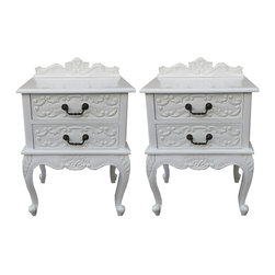 Ally Pair of French Rococo Baroque Nightstands Tables in White - Pair of Nightstands made from solid mahogany wood in white finish. Beautifully hand carved. They will look amazing next to our rococo bed.